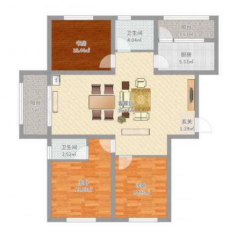 华府新天地二期3室2厅2卫1厨115.00㎡户型图