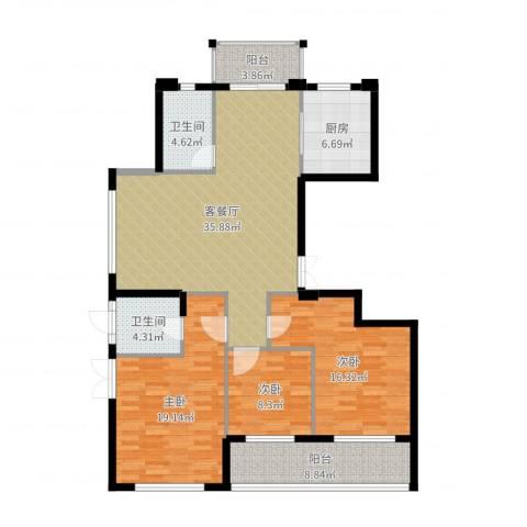 曙光之城3室2厅2卫1厨135.00㎡户型图