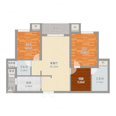 幸福天地3室2厅2卫1厨100.00㎡户型图