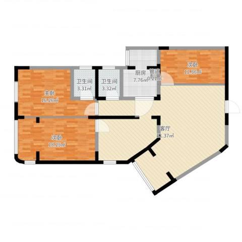 华脉新村3室1厅2卫1厨141.00㎡户型图