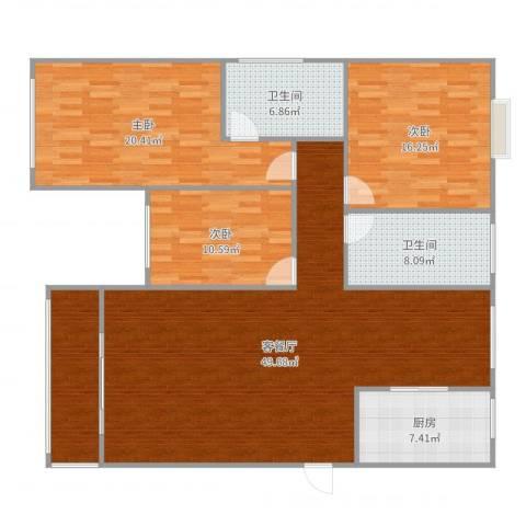 沪佳第一届设计大赛沪佳闸北店C户型3室2厅2卫1厨157.00㎡户型图