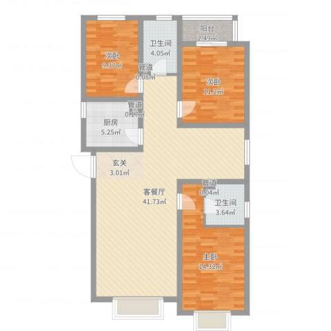 贻成・御景国际3室2厅2卫1厨115.00㎡户型图