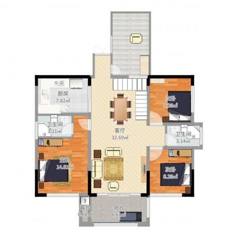 振业城1093室1厅2卫1厨119.00㎡户型图