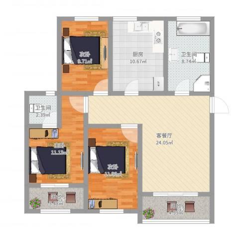 上海莘城3室2厅2卫1厨108.00㎡户型图