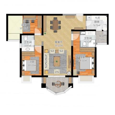 合生滨海城3室2厅2卫1厨126.00㎡户型图