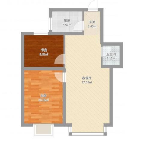 群星国际新城2室2厅1卫1厨68.00㎡户型图