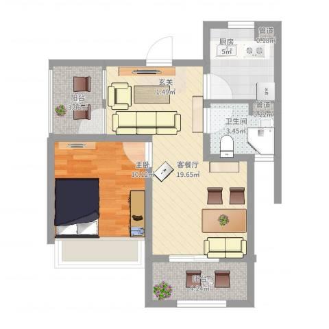 绿地启航社5期1室2厅1卫1厨69.00㎡户型图