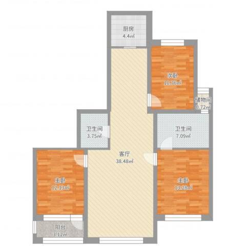 襄平蓝庭130.913室1厅2卫1厨117.00㎡户型图