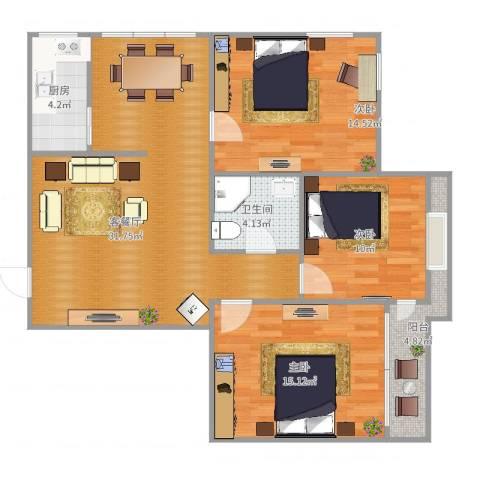 天怡花园3室2厅1卫1厨87.00㎡户型图