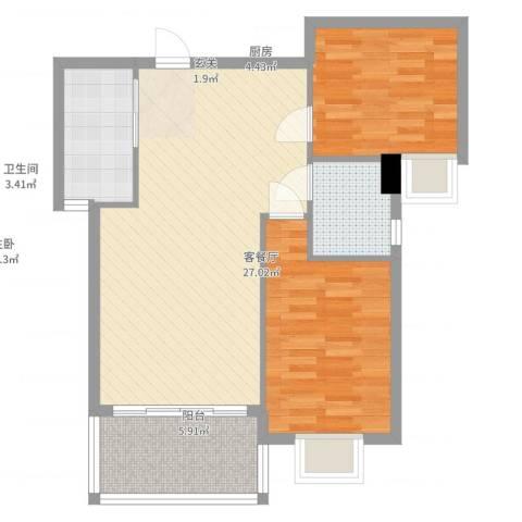 禧福泛海时代2室2厅1卫1厨86.00㎡户型图