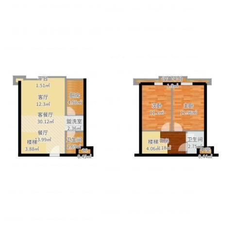 滨海浙商蓝庭国际3室2厅2卫1厨93.00㎡户型图