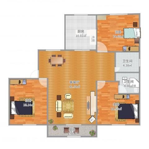 汤巷馨村3室2厅2卫1厨138.00㎡户型图