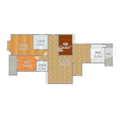 枫叶新都市楼下3室2厅2卫1厨163.00㎡户型图