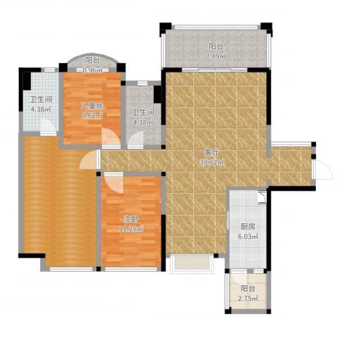 品湖居2室1厅2卫1厨129.00㎡户型图