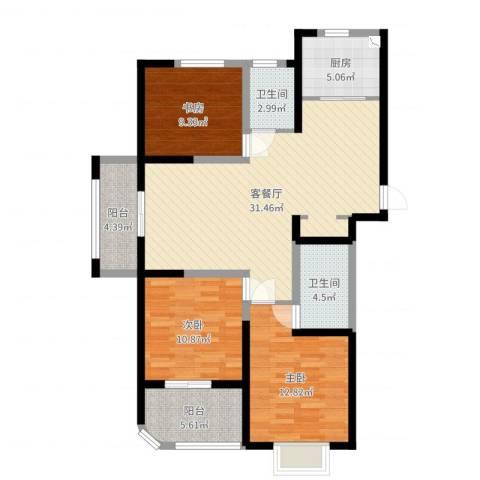 河畔花城3室2厅2卫1厨109.00㎡户型图