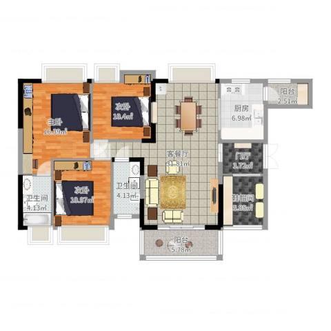 波海蓝湾三期3室2厅3卫1厨128.00㎡户型图