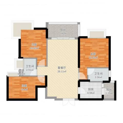 星际豪庭3室2厅2卫1厨98.00㎡户型图