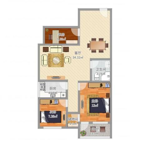 阳光名苑3室1厅1卫1厨72.02㎡户型图