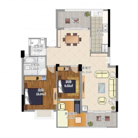 东湖花园四区2室2厅2卫1厨131.00㎡户型图