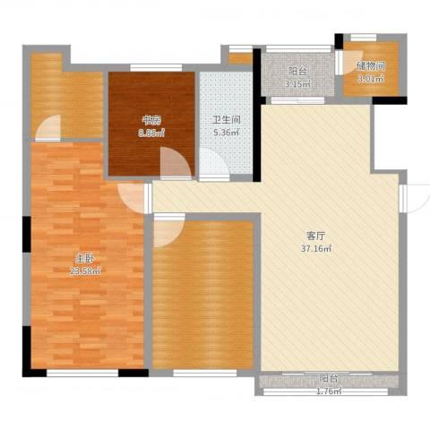 曲江南苑2室1厅2卫1厨129.00㎡户型图