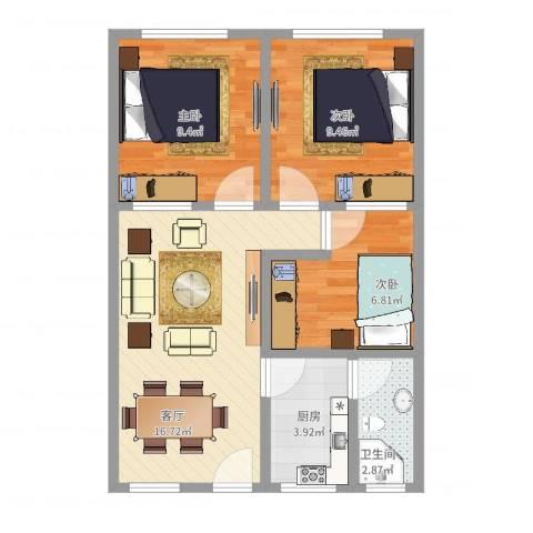 金联市场3室1厅1卫1厨61.00㎡户型图
