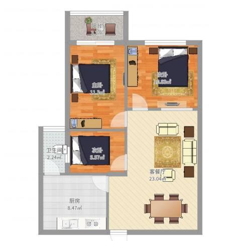 银华大厦3室2厅1卫1厨81.00㎡户型图