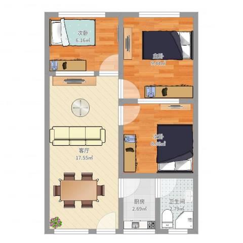 金联小区3室1厅1卫1厨58.00㎡户型图