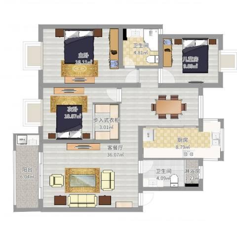 中星凉城苑3室2厅2卫1厨125.00㎡户型图