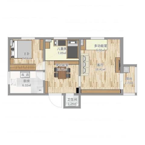 学院南路72号院1室1厅1卫1厨53.42㎡户型图