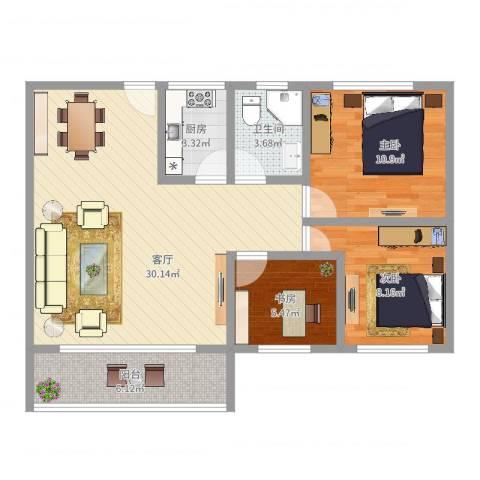 黄石花园3室1厅1卫1厨85.00㎡户型图