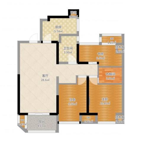 金地湖城艺境3室1厅1卫1厨94.00㎡户型图
