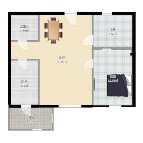 东丽温泉家园2室1厅1卫1厨98.00㎡户型图