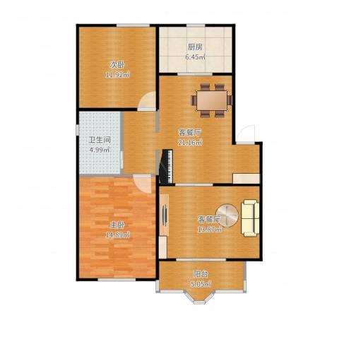 虹口玫瑰苑2室4厅1卫1厨98.00㎡户型图
