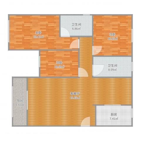 沪佳第一届设计大赛沪佳闸北店C户型3室2厅2卫1厨158.00㎡户型图