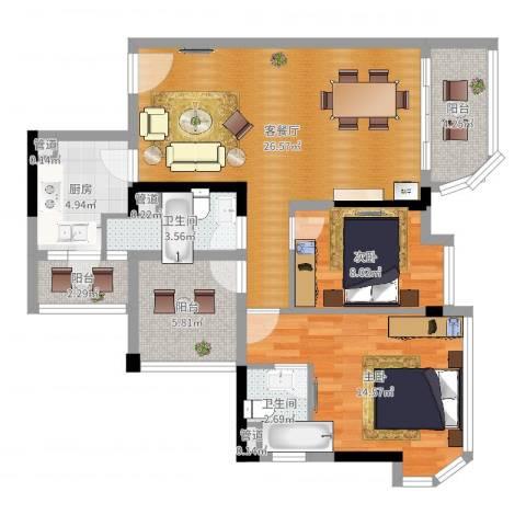 碧桂园天麓山2室2厅2卫1厨92.00㎡户型图