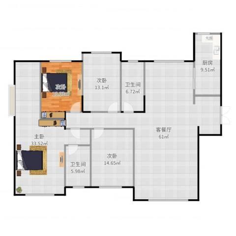德远未来之城4室2厅2卫1厨197.00㎡户型图