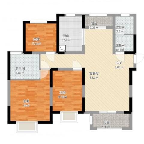 宇信凯旋城3室2厅3卫1厨109.00㎡户型图
