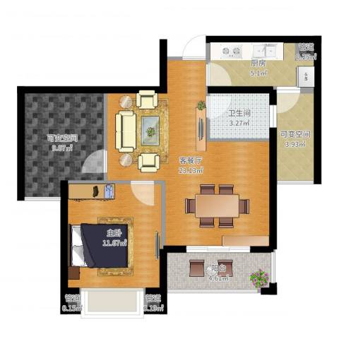 星光苑1室2厅1卫1厨77.00㎡户型图