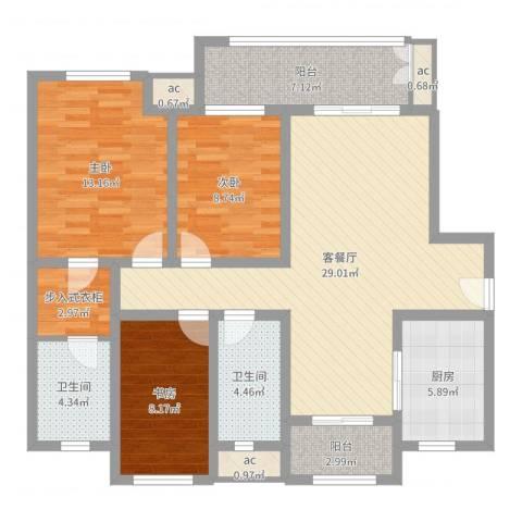 新城公馆别墅3室2厅2卫1厨111.00㎡户型图