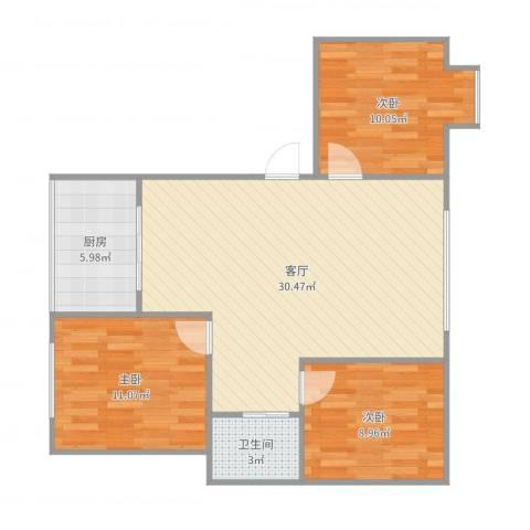 化工大学教师公寓3室1厅1卫1厨87.00㎡户型图