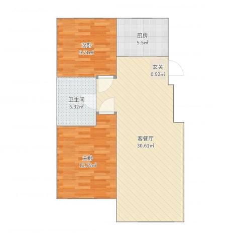 其仕盛和祥2室2厅1卫1厨80.00㎡户型图