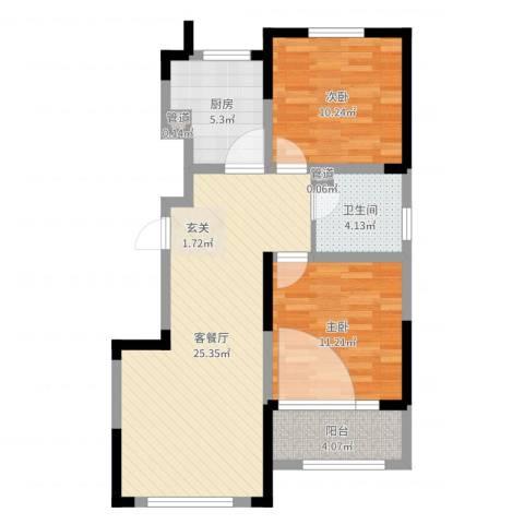 绿地卢浮公馆2室2厅1卫1厨76.00㎡户型图