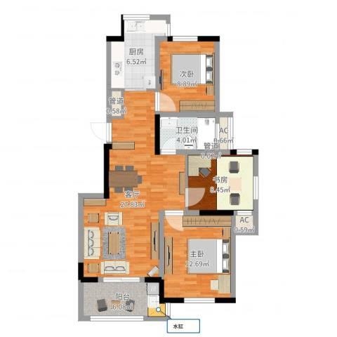 巴比伦国际广场3室1厅3卫3厨95.00㎡户型图