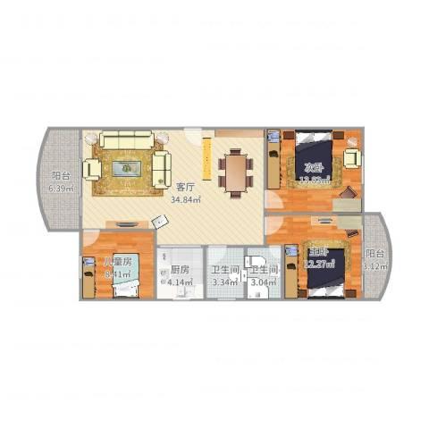 龙福花园3室1厅2卫1厨112.00㎡户型图