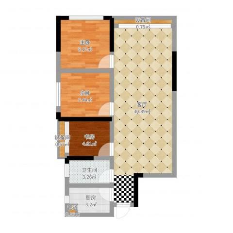 佛奥康桥水岸3室1厅1卫1厨74.00㎡户型图
