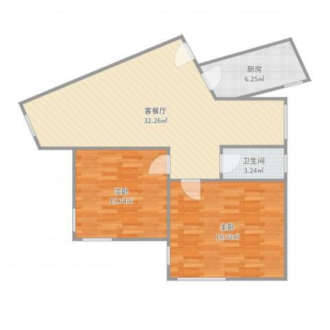 金都花园2室2厅1卫1厨93.00㎡户型图