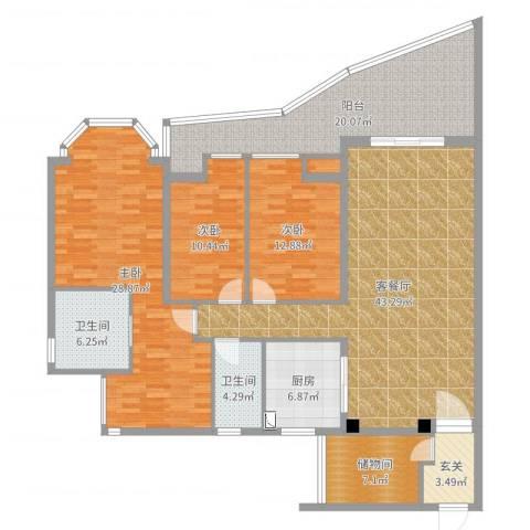 东湖花园九区3室2厅3卫1厨180.00㎡户型图