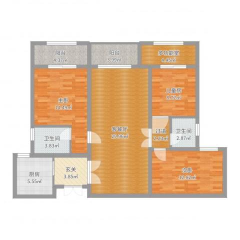 八方小区3室2厅2卫1厨121.00㎡户型图
