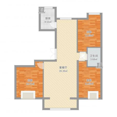 保利香槟湾3室2厅1卫1厨106.00㎡户型图