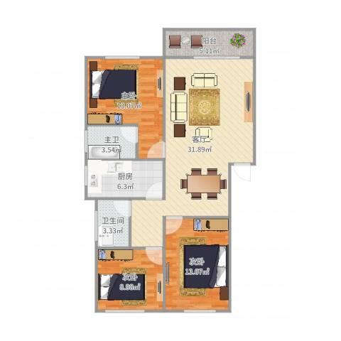 绿茵华庭7144773室1厅1卫1厨107.00㎡户型图